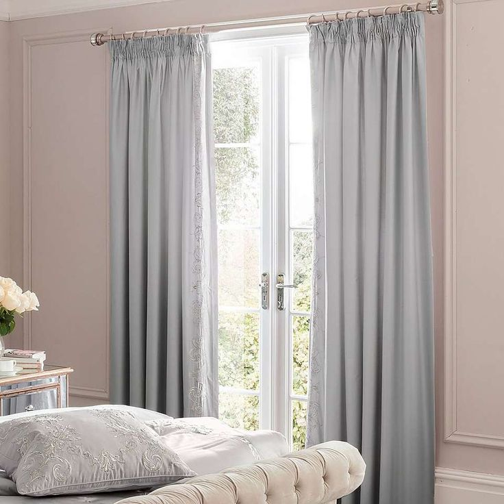 Dorma Brocatello Grey Lined Pencil Pleat Curtains | Dunelm