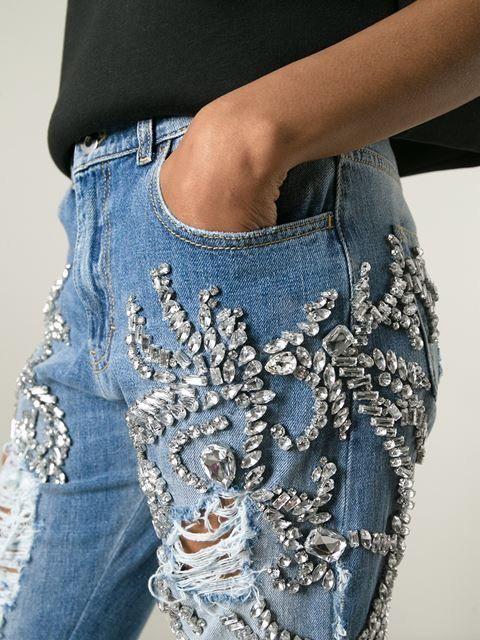 crystal swarovski embellished denim jeans