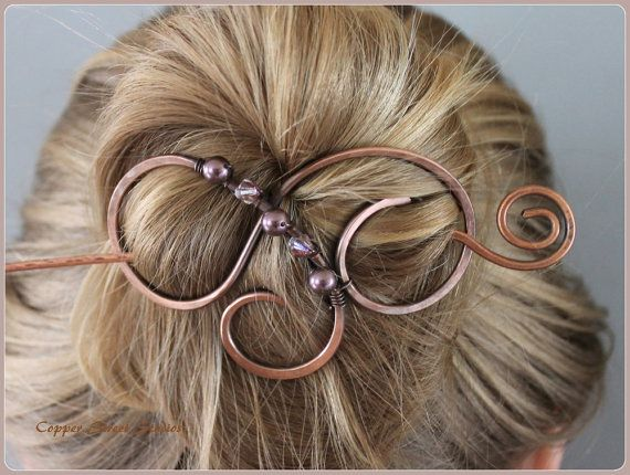 Copper Hair Clip with Purple Pearls and by CopperStreetStudios
