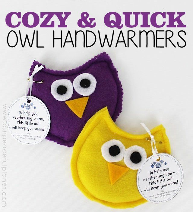 These darling Owl Hand warmers are made from pieces of fleece and oh so soft in your hands! Heat for 15 seconds in a microwave and Voila! Warm hands! Comes with a free poem tag printable to attach.