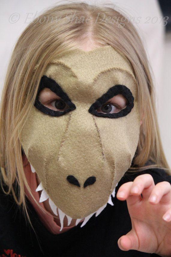 Felt T-rex dinosaur mask pattern.
