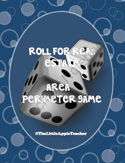 Area and Perimeter Game - Roll For Real Estate from The Little Apple Teacher on TeachersNotebook.com (5 pages)