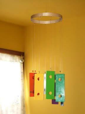 Xylophone wind chime! Must do...being the music dorks that we are. Plus a little spray paint=classy full scale wind chime.