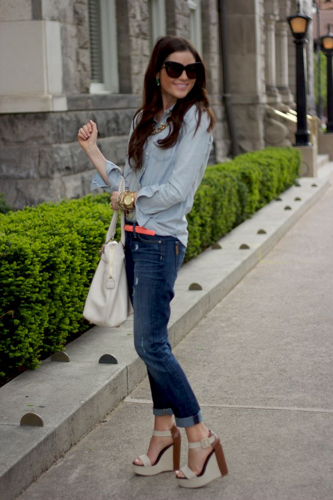 : Shoes, Outfits, Style, Pinkpeonies, Jeans, Double Denim, Wedges, Pink Peonies, Belts