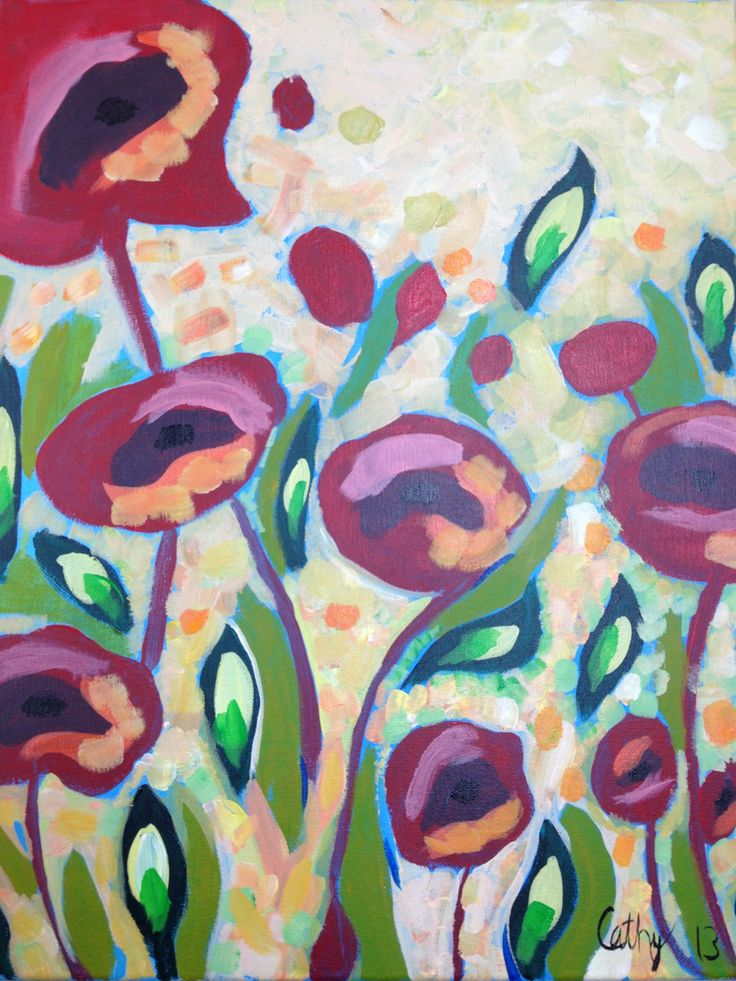 Poppies- an acrylic painting that I did at a fun night out painting party.