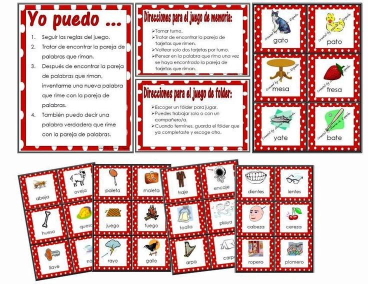 Spanish Rhyming Words - File Folder or Memory Game