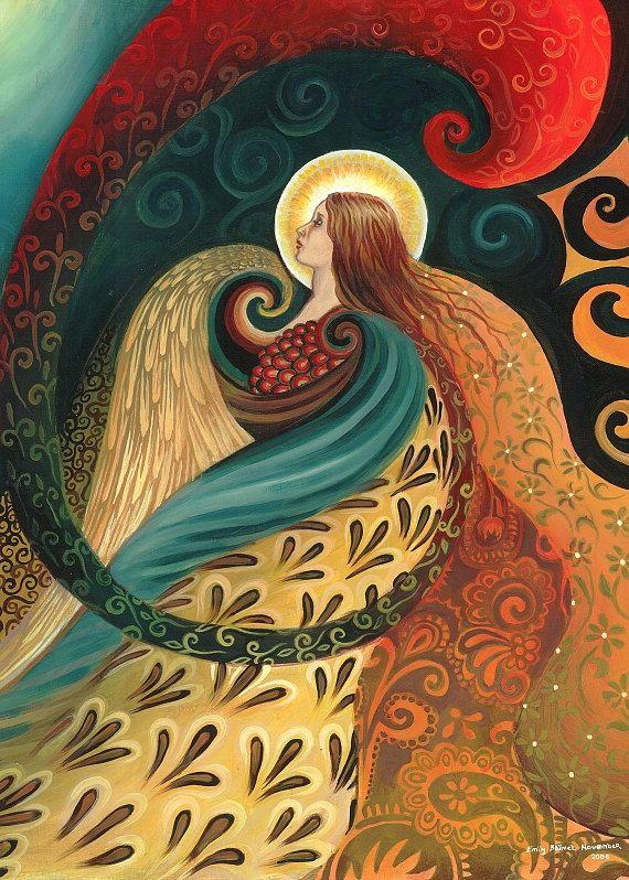 Feather Goddess - Art Nouveau Mythology 5x7 Greeting Card by EmilyBalivet