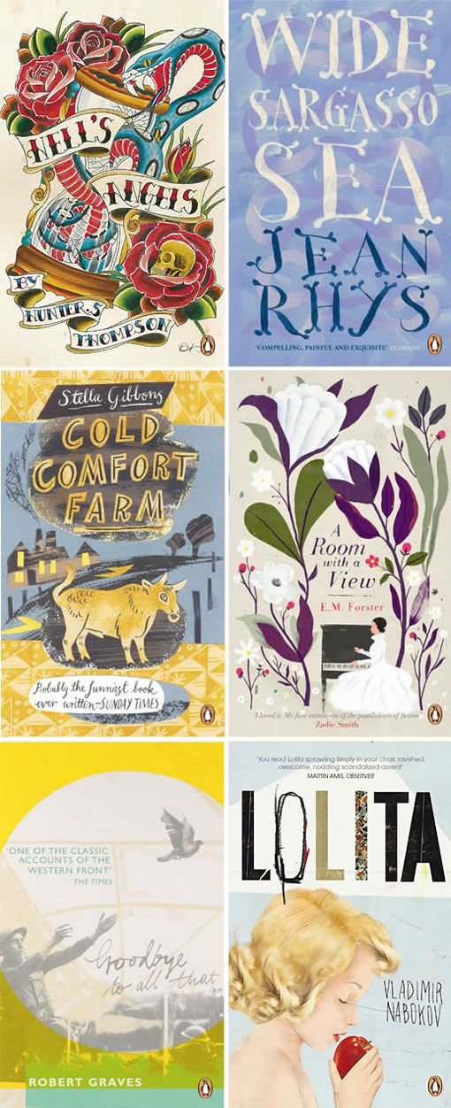I love the lettering on the Cold Comfort Farm cover, the colors on Wide Sargasso Sea, and the overall look of Goodbye to All That. [via design work life]