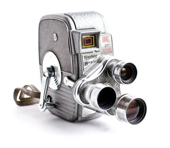 Vintage Keystone Movie Camera - K-27 Capri Triple Turret 8MM Camera / 1950s Cinema by MaejeanVINTAGE, $80.00