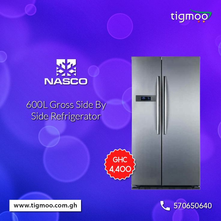 #NASCO 600L Gross Side By Side #Refrigerator, price GHC 4,400  To order online, click here: https://www.tigmoo.com.gh/nasco-refrigerators-600-ltr-side-side-ff2-66-1.html