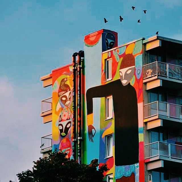 Top 3 levels of Rimon Guimaraes mural in Amsterdam for R.U.A.