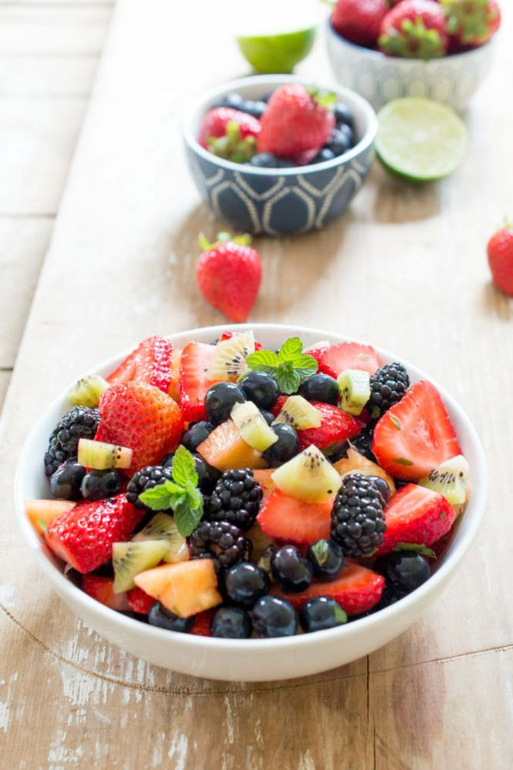fresh fruit salad with with blackberries and strawberries