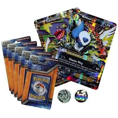 Pokemon 100 Card Oversized Bundle 5 Holo Foil 2 Metallic Coin Assorted Cards New