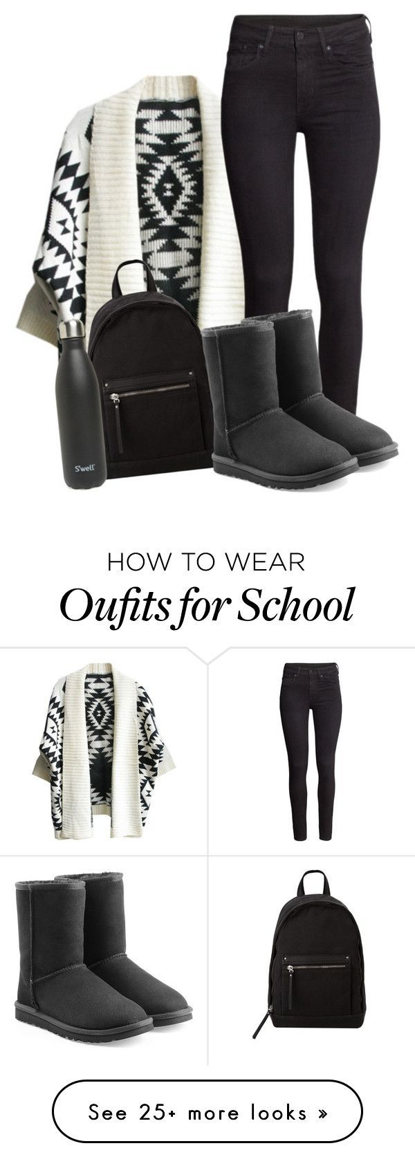 """COLD School Day!"" by arowenssymphony on Polyvore featuring H&M, MANGO, S'well and UGG Australia"