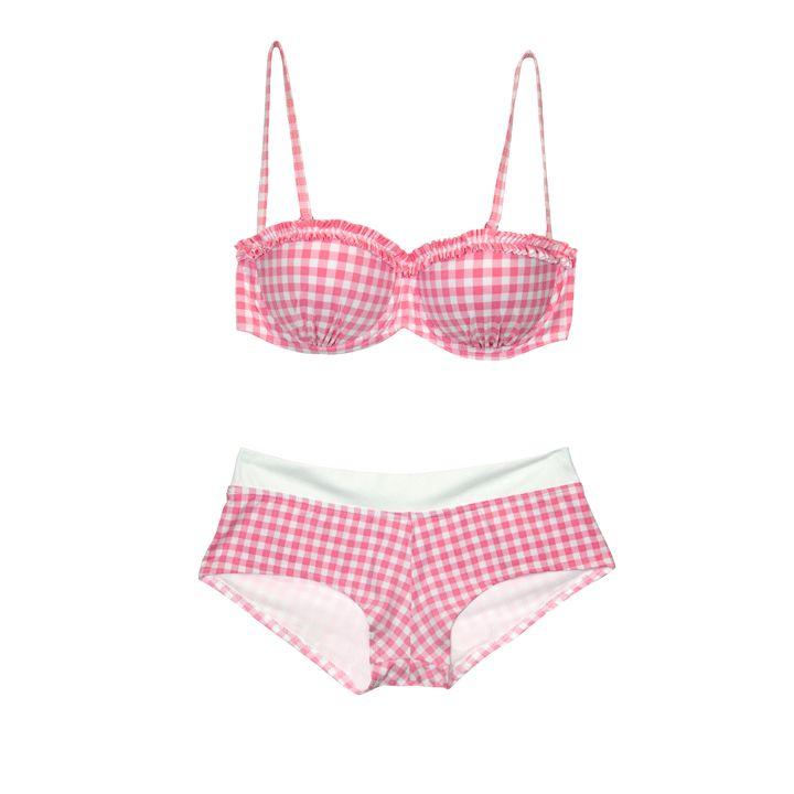 Mode été 2012 : 50 maillots de bain imprimés : Le maillot de bain imprimé Vichy Kiwi - Mode Plurielles.fr