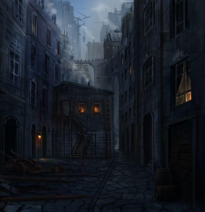 medieval town fantasy deviantart dark night alleyway joakimolofsson concept slums building paysage street alley episode dessin 3d episodeinteractive ext med