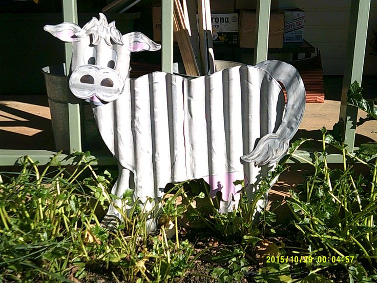 Corrugated Iron Cow Metal Yard Art Yard Art Tin Art