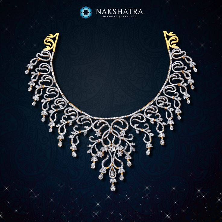 Let the artistic swirls laced with diamonds on this Nakshatra diamond necklace infuse heavenly charisma to your wedding day.