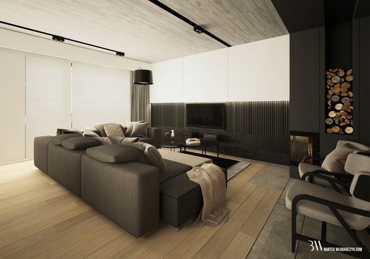Salon z kanapą Yang firmy Minotti, lampą podłogową Twiggy firmy Foscarini