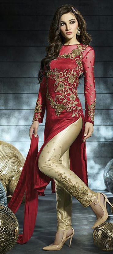438097: Red and Maroon color family stitched Bollywood Salwar Kameez,Party Wear Salwar Kameez .