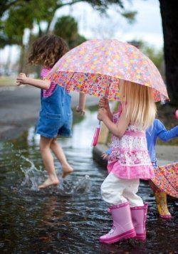 Splashing in the rain puddles