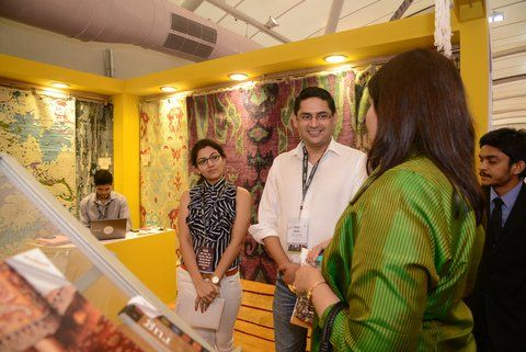 In September HMW attended the 2014 Festival of Architecture and Interior Designing (FOAID). An immensely successful event where we met fellow industry members while we continue to broaden our wings as we're all about striving for the highest quality products and offer superior service to all Handmade World clients.   This is Handmade world founder Mr. Adarsh Mishra with a guest at our stand!