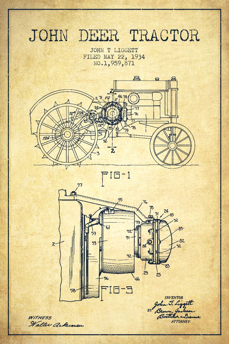 John Deer Vintage Patent Blueprint Canvas Artwork by Aged ...