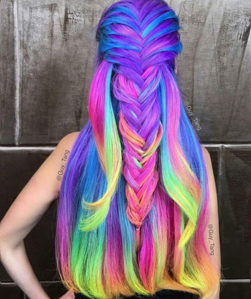 Long rainbow hairstyle with boxer braid by Guy Tang