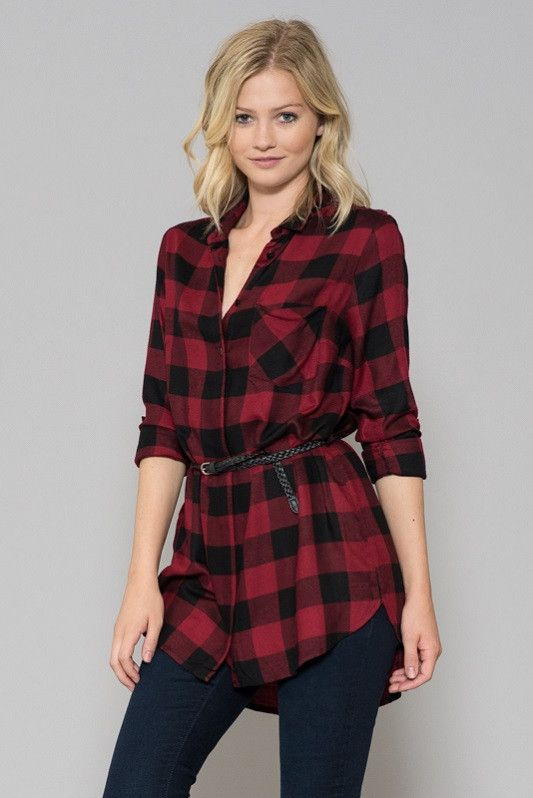 Tartan Belted Top  I dig the belted looks with the longer tops