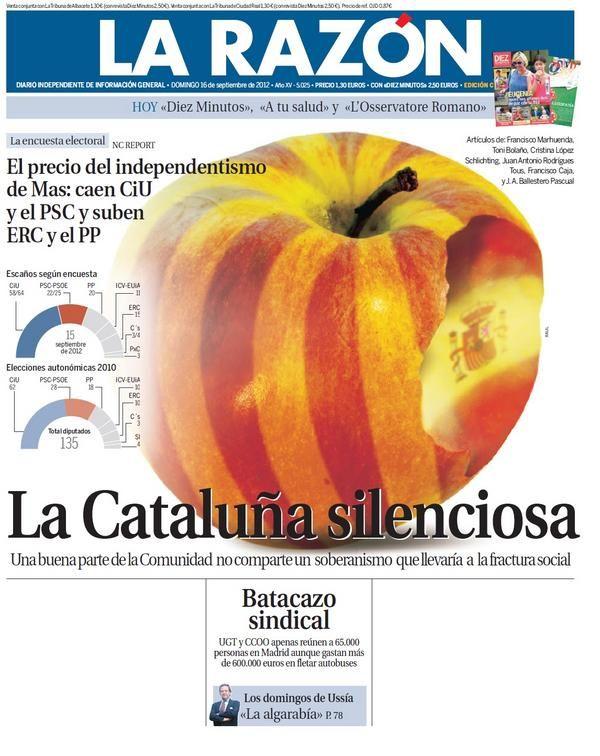 Fotomontaje en portada de La Razón sobre el estado de opinión de los catalanes ante la consulta soberanista