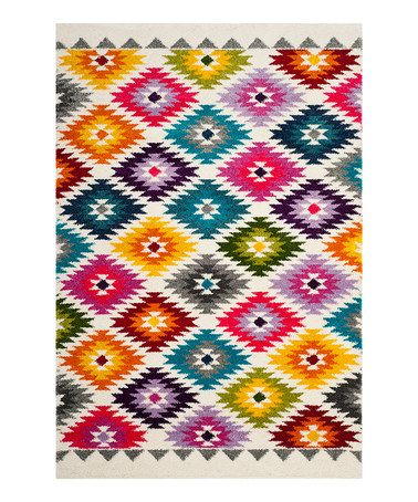 Loving this Multicolor Geometric Power-Loom Rug on #zulily! #zulilyfinds