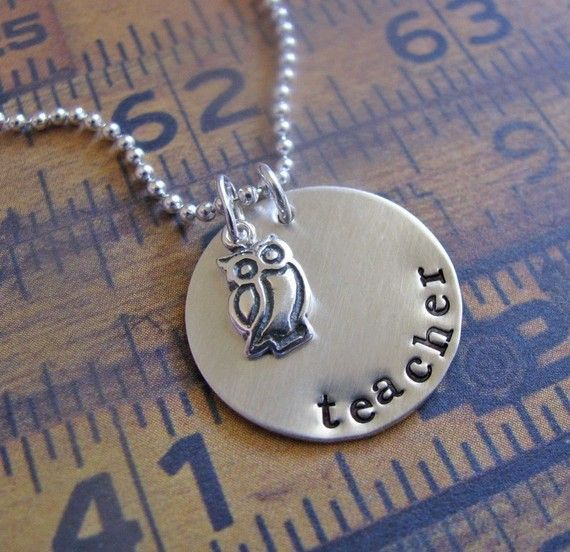 sterling silver owl teacher necklace by juliethefish on Etsy