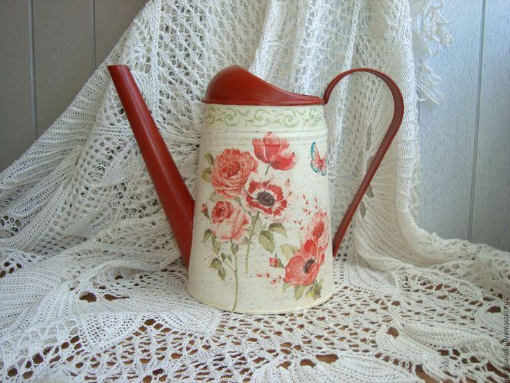 Купить Лейка Красные цветы - лейка, лейка декупаж, лейка для полива цветов, лейка садовая