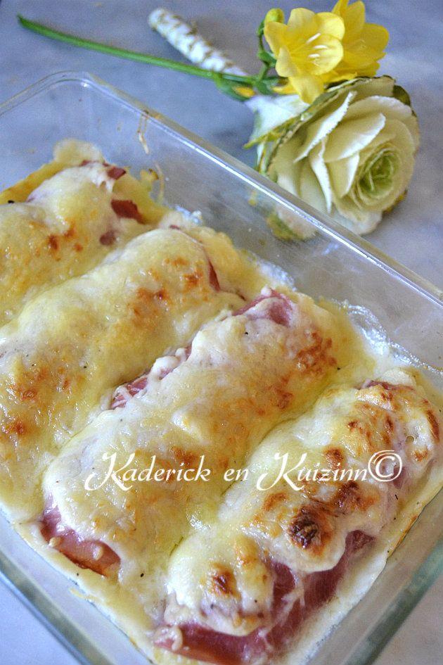 Dégustation recette chou fleur façon endive au jambon et béchamel #gratin