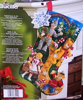 "Bucilla Discontinued ""Wizard of oz"" Felt Christmas Stocking Kit Factory Direct 