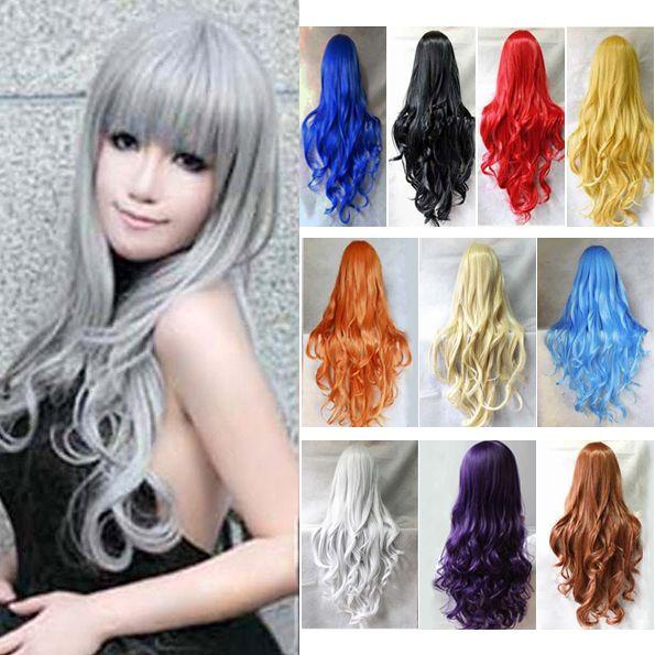 80 cm Cosplay WigsFull Tête Long Ondulé Synthétique Perruques Bleu Noir Blanc Rouge Pourpre Perruques
