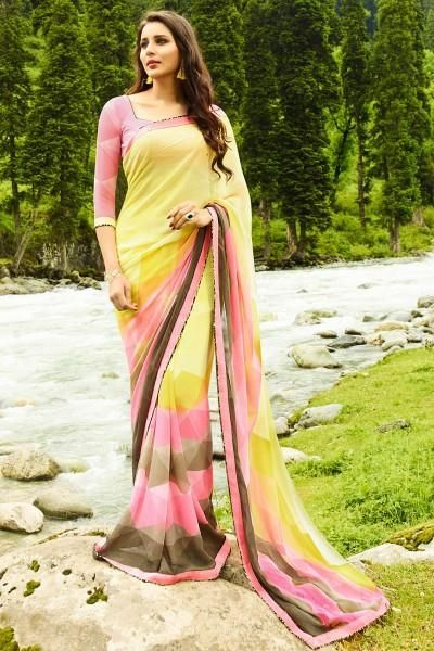 Grab the attention of your onlookers by cladding in this multi color vibrant printed party wear georgette fabric saree adorned elegantly with fancy print and lace work which is the main highlight of the saree This saree is an apt choice of outfit for casual parties and social events when paired with simple fashionable jewellery