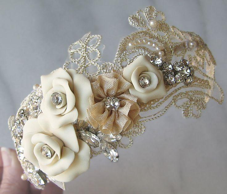 Champagne Lace Headband with Vintage Rhinestones and Pearls, Bridal Headband, Rhinestone Head Piece - ELISABETA. $120.00, via Etsy.