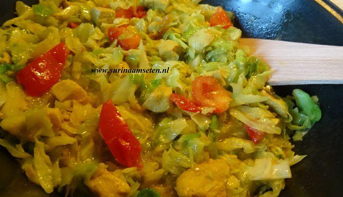 Surinaams eten – Traditionele kip met kool in masala