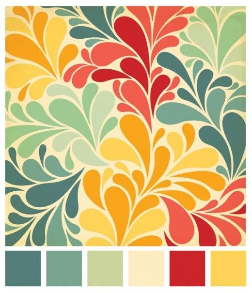beautiful palette from flor's design blog (dusty peacock blue, chalky blue green, sage green, cream, coral red, mustard yellow/gold)
