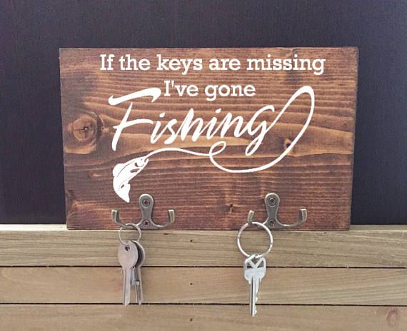 If the keys are missing Ive gone Fishing Wooden Key Holder makes a great gift the men and women in your life that love to fish. Size: 9 Inches x 5 Inches (approx.)  Includes Wall Mount and Hooks *In a RUSH? Add this listing to your cart:
