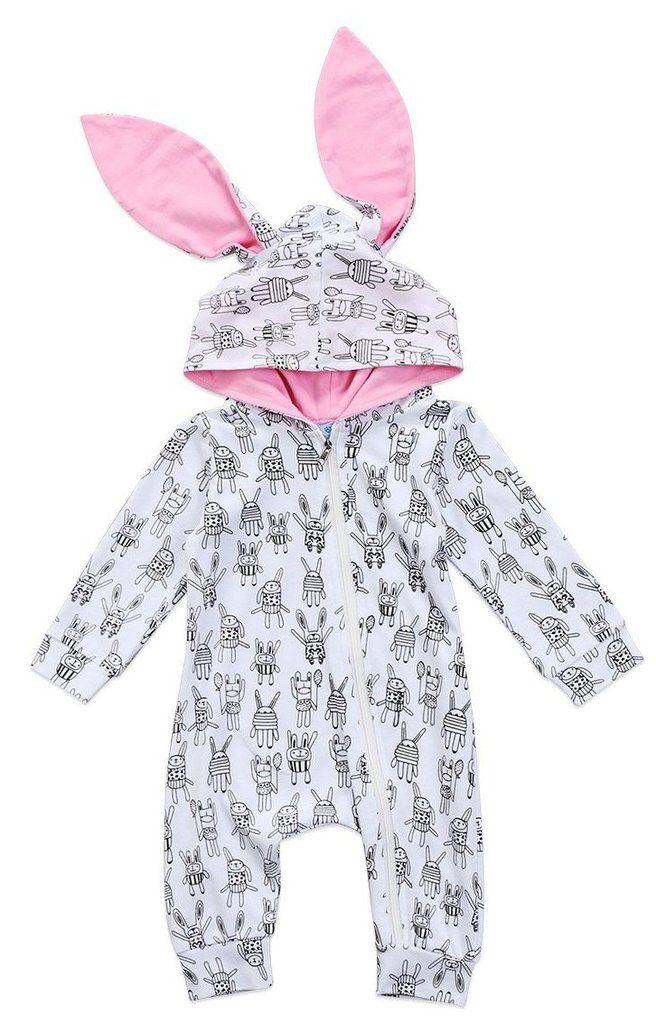 d77c2f308da1 Long sleeve hooded baby girl romper. Cute little rabbit ears ontop of the  hood. Adorable black and white bunny print.