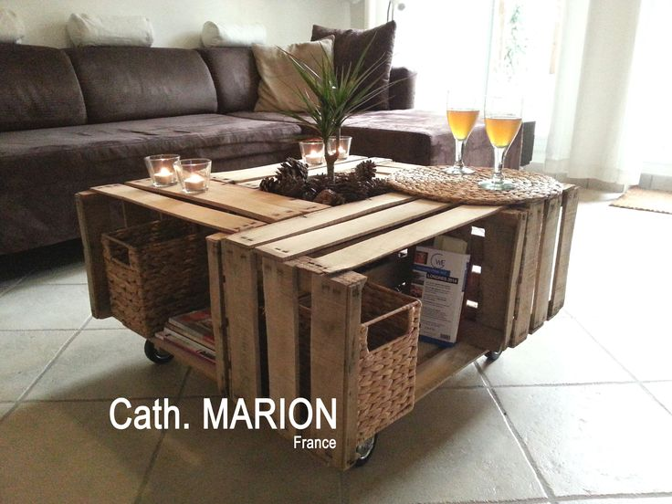 Table basse avec 4 caisses bois palettes co pinterest tables - Fabrication table basse palette ...