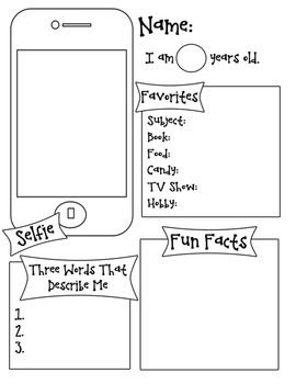 All about me selfie template all about me portrait and for About me template for students