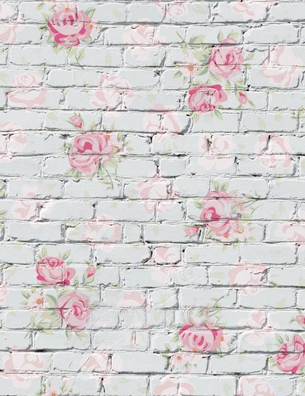 Flower Printed On White Brick Wall Photography Backdrop Brick Backdrops Vinyl Wall Flowers Wall Backdrops