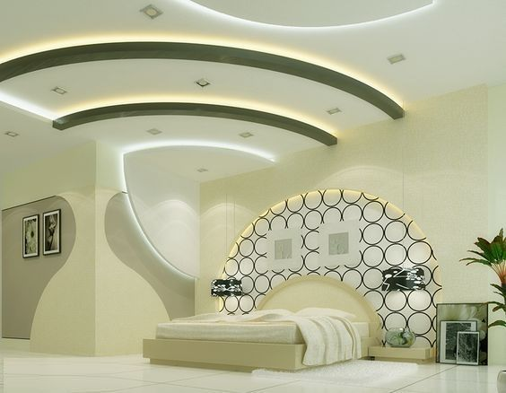 yatak odası duvarı için alçıpan tasarımları ile tasarım ve LED arka aydınlatma ile tavan
