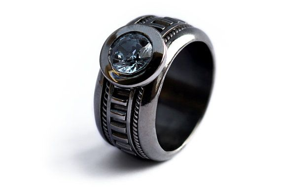 Unique black engagement ring for men with light blue stone on Etsy, $360.00