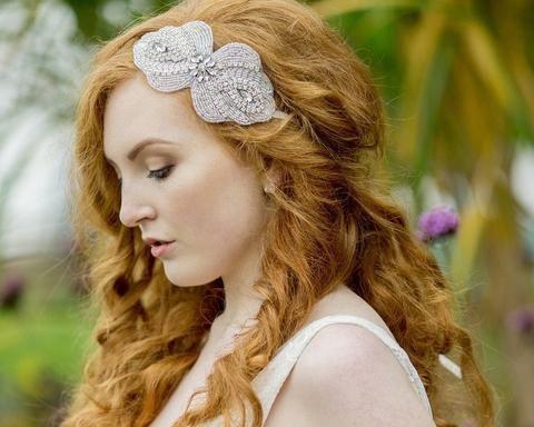 Vintage Side Headpieces - Rhinestone Embellished Appliqué Headband, Maggie