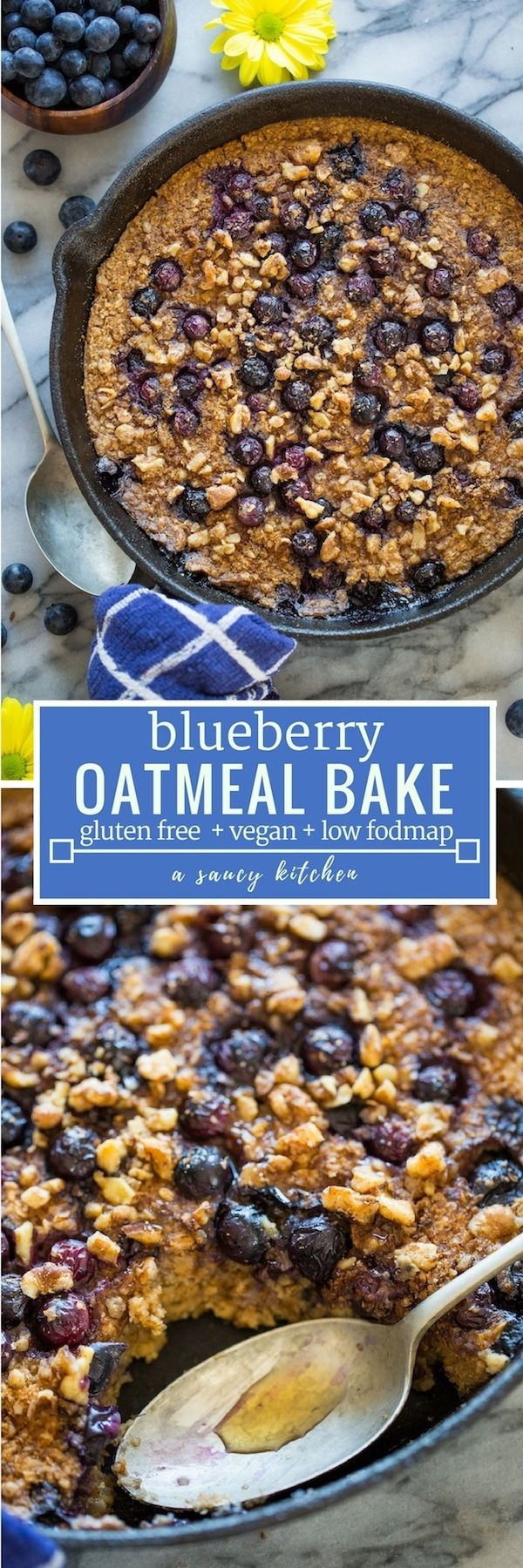 Easy to make Blueberry Oatmeal Bake – topped with chopped walnuts, spiced with cinnamon and packed full of juicy berries. #GlutenFree + #Vegan  #bakedoatmeal #blueberries #healthybreakfast
