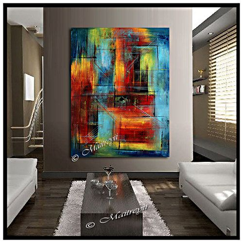 Large Artwork Original Paintings Red Blue Abstract By Largeartwork